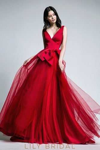 Low V-Neck Criss Cross Back A-Line Sweep Train Tulle Prom Dress With Bowknot