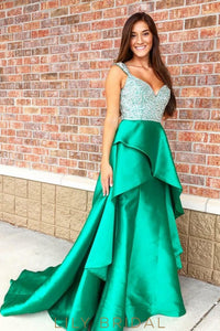 Satin Beaded A-Line Strap Sweep Train Overlap Prom Dress