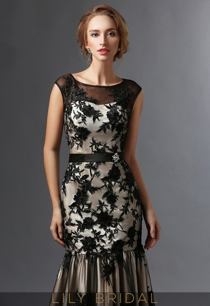 Black Satin Lace Sleeveless Dropped Waist Trumpet Mother of the Bride Dresses