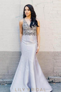 Satin Plunging V-Neck Illusion Mermaid Prom Dress With Beads