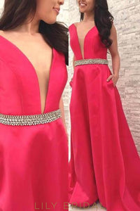 Satin Plunging V-Neck Long Prom Dress With Crystal Beaded Belt