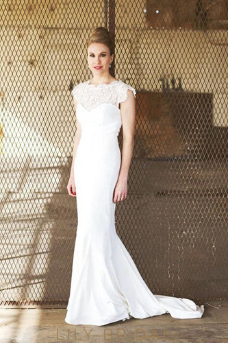 Round Neck Lace Cap Sleeves Wedding Dress