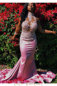 Satin Sleeveless High Neck Embroidered Lace Mermaid Prom Dress