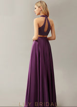 Satin Sleeveless Keyhole Back Floor-Length Prom Dres