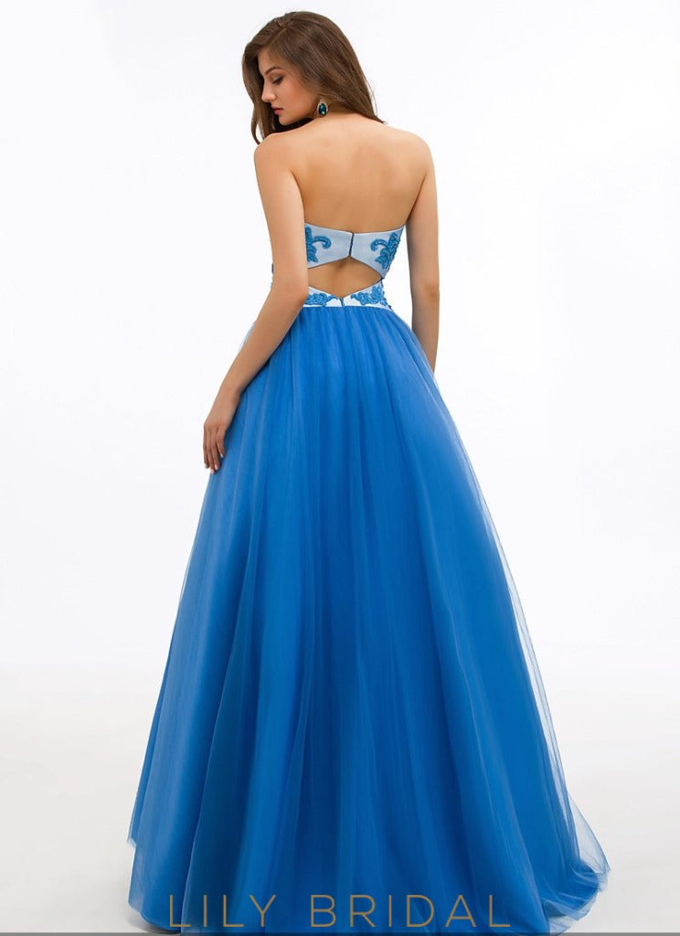 Tulle Sweetheart Strapless Open Back Ball Gown Prom Dress