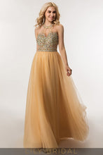 Backless Halter Floor-Length A-Line Tulle Prom Dress With Illusion Beaded Bodice