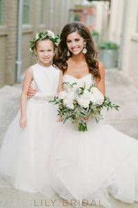 A-Line Satin Top Floor-Length Tulle Flower Girl Dress With Beaded Belt
