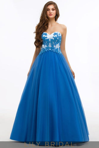 Satin Tulle Sweetheart Strapless Open Back Ball Gown Prom Dress