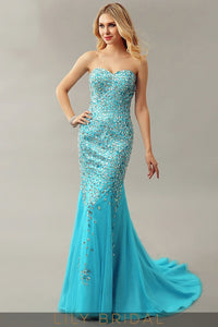 Satin Tulle Trumpet Sweetheart Strapless Court Train Prom Dress With Rhinestone