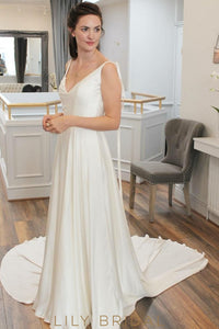 Satin V-Neckline A-Line Ivory Wedding Dress with Watteau Train