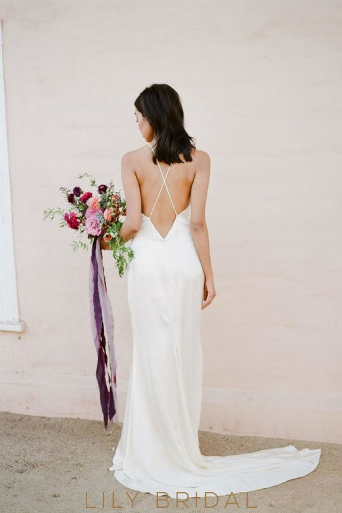 Sheath Satin V-Neckline Open Back with Crossed Straps Wedding