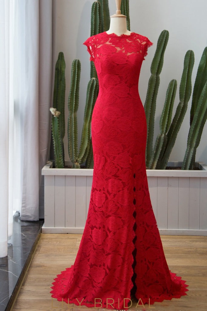 Scalloped Neckline Red Floral Lace Mermaid Evening Dress with Cap Sleeve