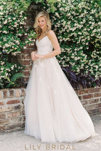 Scoop Back Tulle Wedding Dress with Spaghetti Straps V-Neckline Empire Waist