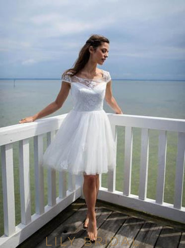 e5a60793566 Scoop Neck Cap Sleeve Short Wedding Dress With Lace Applique