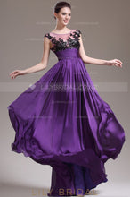Scoop Neck Sleeveless Illusion Top Floor-Length Pleated Chiffon Evening Dress With Applique