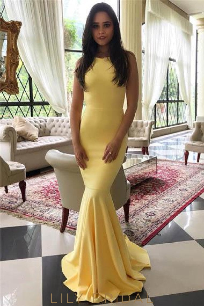 Scoop Neck Sleeveless Long Solid Stretch Mermaid Prom Dress with Sweep Train