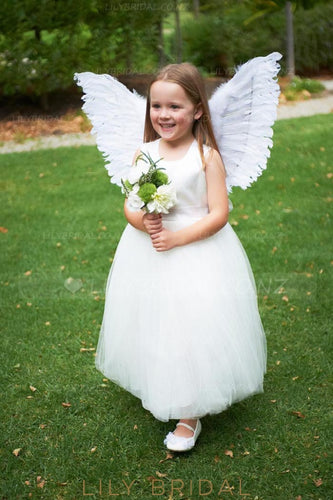 Elegant Scoop Neck Sleeves Zipper-Up Ankle-Length Solid Tulle Flower Girl Dress