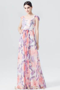 Scoop Neck Spaghetti Strap Floral Print Evening Dress With Cap Sleeve