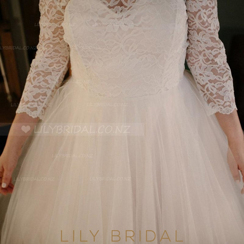 Scoop Neck 3/4 Sleeve Tea-Length Tulle Plus Size Wedding Dress With Illusion Lace Bodice