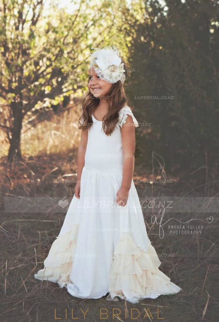 Scoop Neck Tiered Ruffle Sweep Train Flower Girl Dress With Lace Cap Sleeve