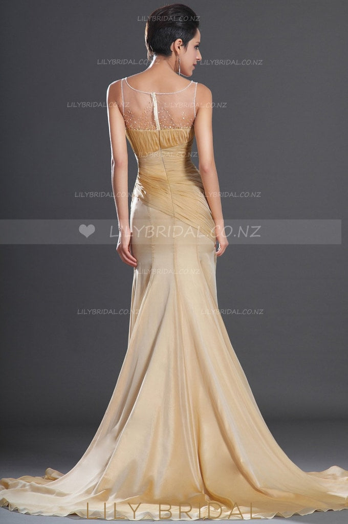 Scoop Neckline Thigh Split Ruched Chiffon Sweep Train Evening Dress With Illusion Beaded Top