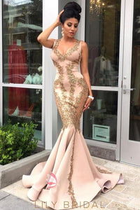 Champagne Scoop Sweep Train Mermaid Prom Dress with Appliques