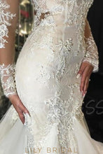 Tulle Scoop Trumpet Silhouette Wedding Dress with Long Sleeves Dropped