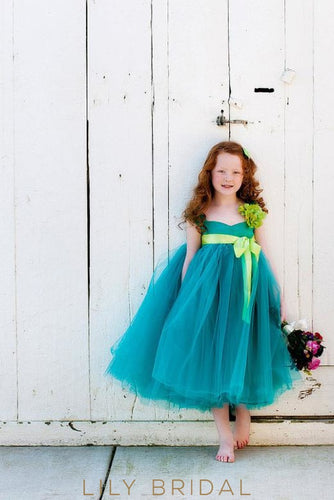 Sweetheart Empire Waist Tea-Length Ball Gown Flower Girl Dress With Sash