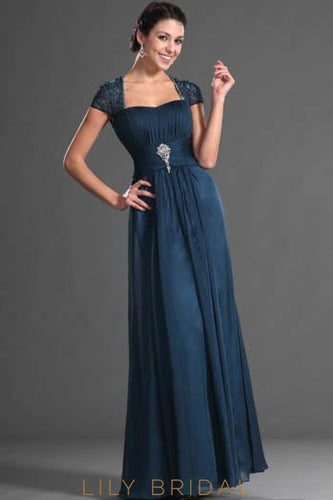 Semi-Sweetheart Keyhole Back Cap Sleeve Beaded Chiffon Evening Dress With Brooch
