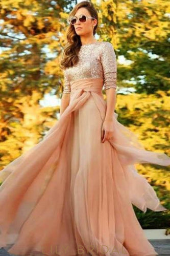 Sequin Bateau Neck Long Sleeves Empire Floor-Length Ruched Sheath Chiffon Evening Dress