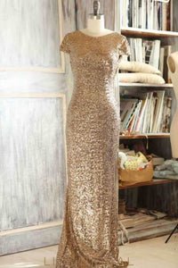 Sequin Bateau Neck Short Sleeves Backless Long Solid Sheath Bridesmaid Dress