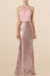 Sequin Bridesmaid Dress Jewel Neck Sleeveless Long Fit&Flare Wedding Guest Dress