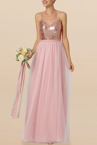 Sequin Bridesmaid Dress Spaghetti Straps Sleeveless Backless Long Wedding Guest Dress