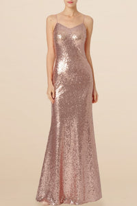 Sequin Bridesmaid Dress Spaghetti Straps Sleeveless Floor-Length Wedding Guest Dress
