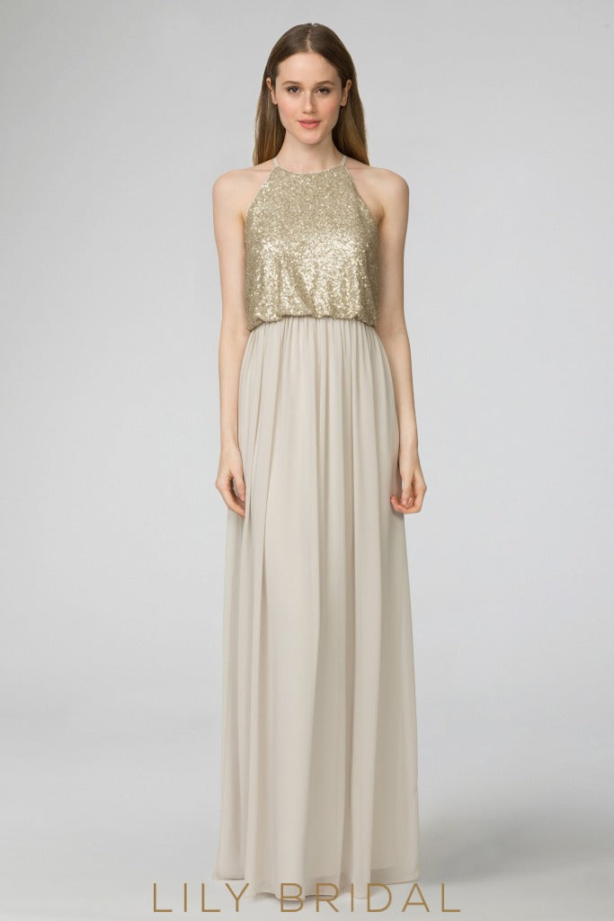 Jewel Neck Sleeveless Floor-Length Champagne Bridesmaid Dress With Sequin Bodice