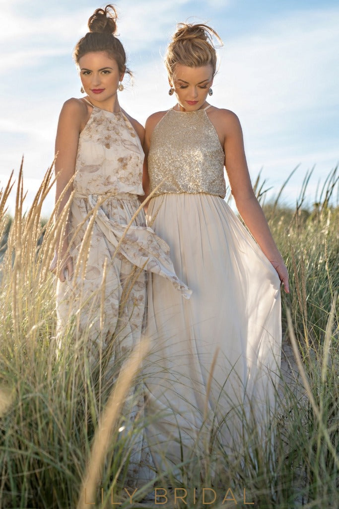 Jewel Neck Sleeveless Floor-Length Champagne Chiffon Bridesmaid Dress With Sequin Bodice