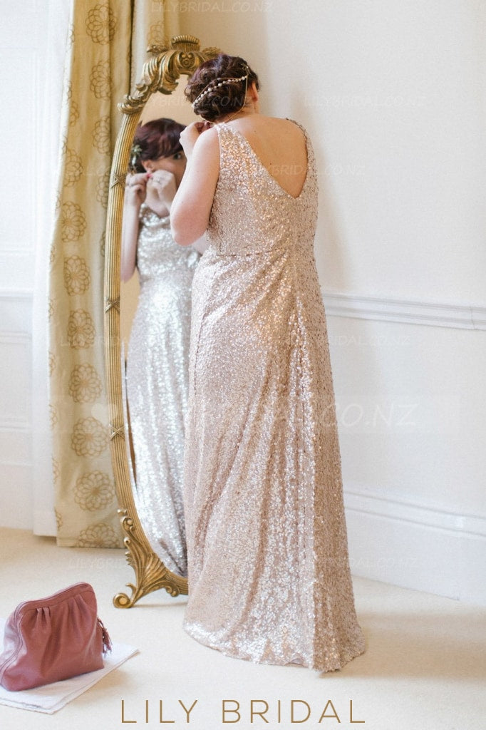 Sequin Cowl Neck Sleeveless Zipper-Up Floor-Length Solid Sheath Bridesmaid Dress
