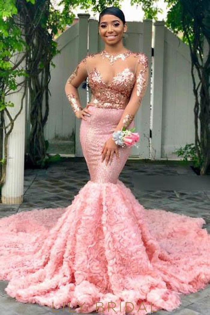 9be332c176 Sequin Handmade Flower Illusion Scoop Neck Long Sleeves Long Mermaid Prom  Dress