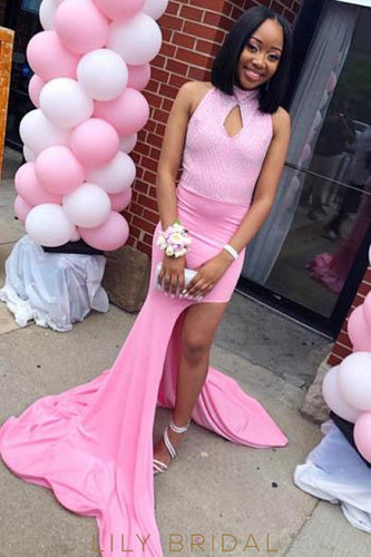 Sequin Key-Hole High Neck Sleeveless Open Back Long Slit Prom Dress with Court Train