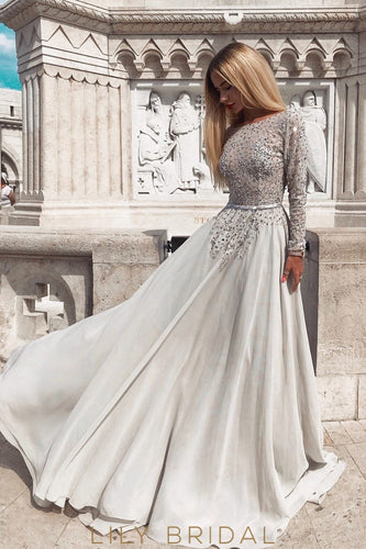 Sequin Lace Bateau Neck Long Sleeves Backless Long Chiffon Prom Dress with Sweep Train