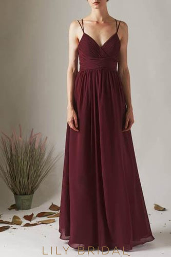 Sequin Lace Spaghetti Straps Sleeveless Backless Long Solid Sheath Bridesmaid Dress