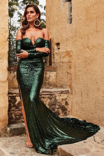 Sequin Off Shoulder Long Sleeves Long Fit-And-Flare Slit Prom Dress with Court Train