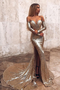 Glittering Sequin Off Shoulder Long Sleeves Zipper-Up Long Slit Mermaid Prom Dress