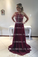 Sequin Rhinestone Scoop Neck Sleeveless Open Back Long Solid Chiffon Prom Dress