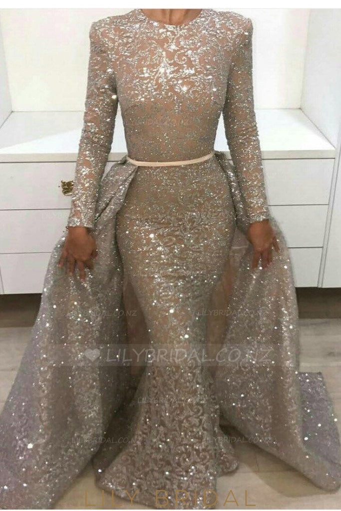 Sequin Scoop Neck Long Sleeves Floor-Length Mermaid Evening Dress with Overskirt