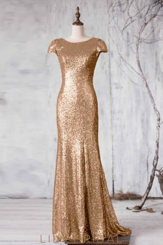 Sequin Scoop Neck Short Sleeves Backless Long Solid Sheath Bridesmaid Dress
