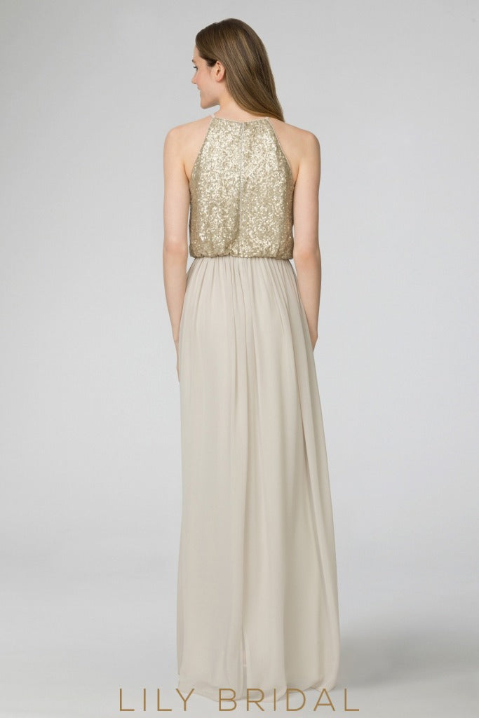 Jewel Neck Sleeveless Floor-Length Chiffon Bridesmaid Dress With Sequin Bodice