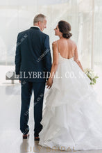 Elegant Sequin Ruffles Spaghetti Straps Sleeveless Backless Two Piece Long Wedding Dresses