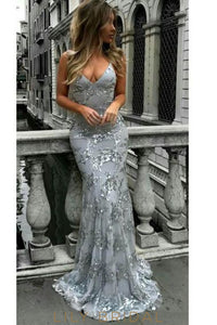 Elegant Sequin Spaghetti Straps Sleeveless Lace-Up Long Mermaid Evening Dress