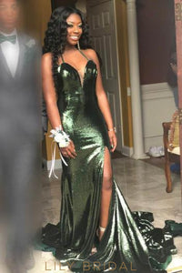 Sequin Spaghetti Straps Sleeveless Long Solid Slit Mermaid Prom Dress with Sweep Train